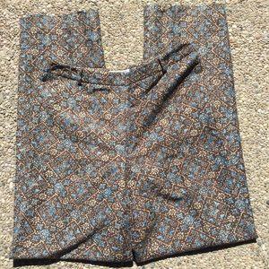 Talbots silk & linen patterned dress pants, size 2
